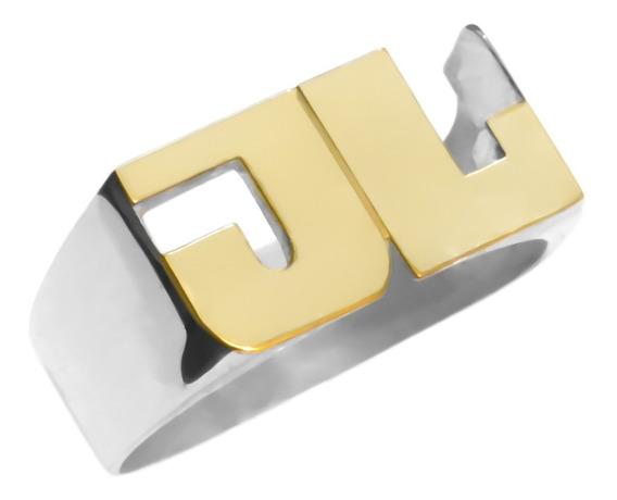 Anillo Sello Iniciales - Plata 925 Y Oro 18k - 2 O 3 Letras