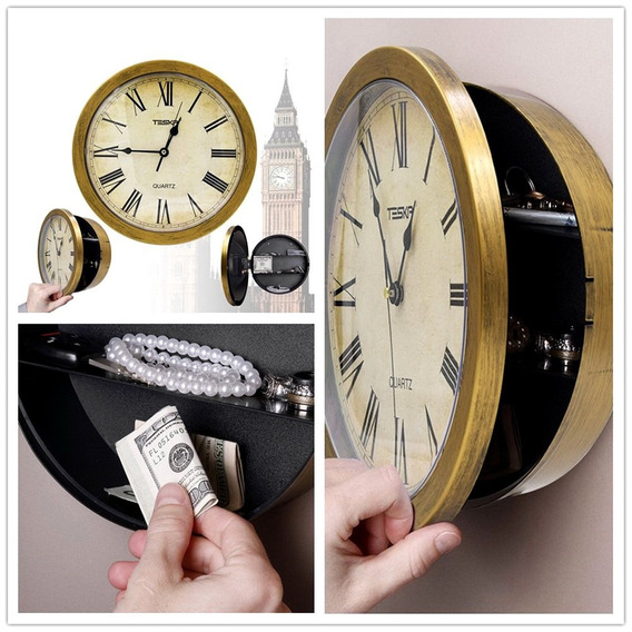 Relógio De Parede Segredo Oculto Plástico Retro Ouro