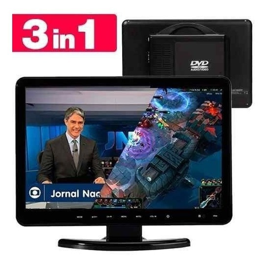Tv Monitor Dvd Embutido Tela Lcd 15.4 Full Hd 3x1 Kp-d116