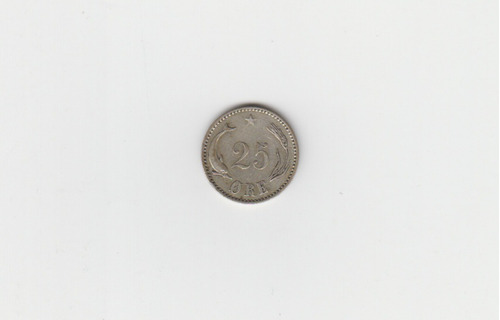 Moneda Dinamarca 25 Ore 1905 Plata Excelente