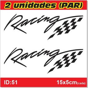 Par De Adesivos Racing, Bandeira De Corrida 15x5cm - Id51