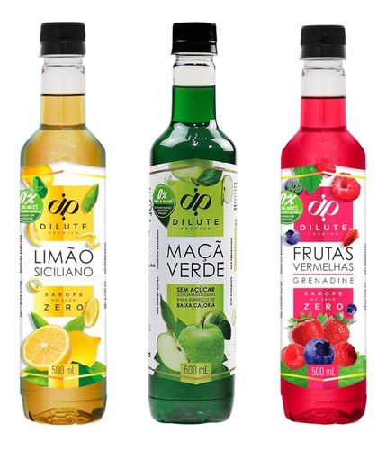 Kit 3 Xaropes Soda Italiana Zero Açúcar Diet Dilute 500ml