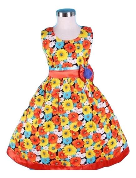 Vestido Infantil Festa Flores Amarelo E Laranja