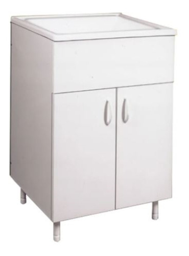 Imagen 1 de 10 de Mueble Lavadero Vanitory 57 Cm Amube Trento Blanco Baño