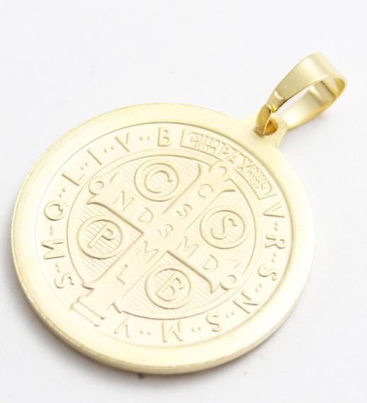Corrente Medalha São Bento Folheada A Ouro 023