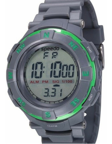 Relógio Masculino Speedo Grande Cinza Borracha Cronômetro