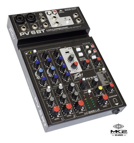 Peavey Pv-6 Bt Consola Mixer 6 Ch Bluetooth Usb Efecto Pv6bt