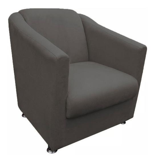 Poltrona Cadeira Tilla Para Recepção Escritório Suede Cinza
