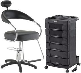 Cadeira Futura Base Preta Ny +carrinho Beauty Dompel Preto