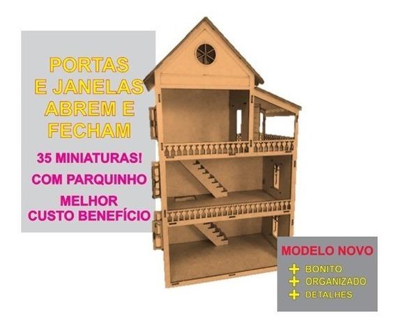 Casinha Mdf Bonecas+miniaturas + Kit Móveis Brinquedos