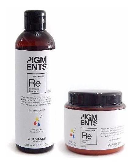 Kit Alfaparf Pigmentos Reparador Y Color Shampoo + Máscara
