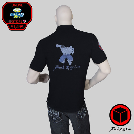 Playera Polo - Marvel Hulk Bordado 3d - Black Elysium