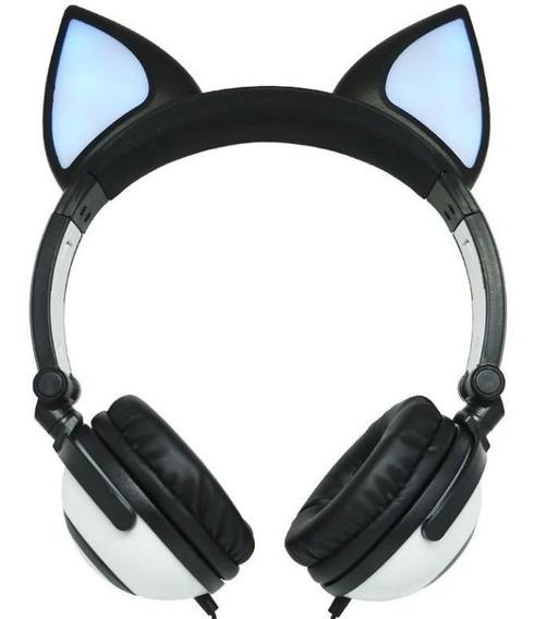 Fone Com Orelhas De Gato/gatinho Headphone Iluminação Led