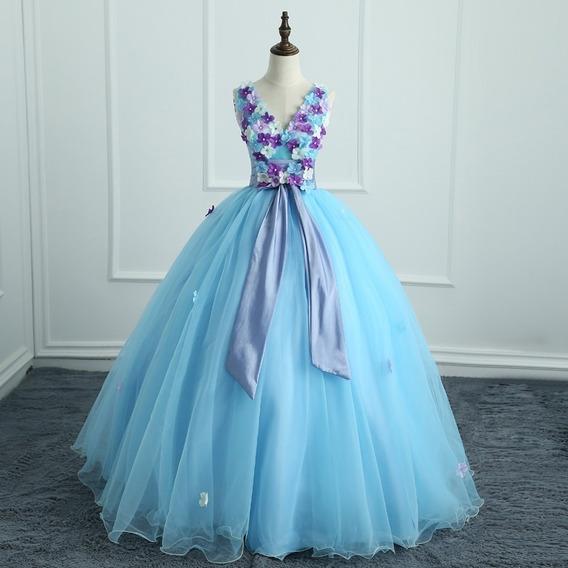 Vestido Quinceañera Barato Bonito Hermoso Flores Azul