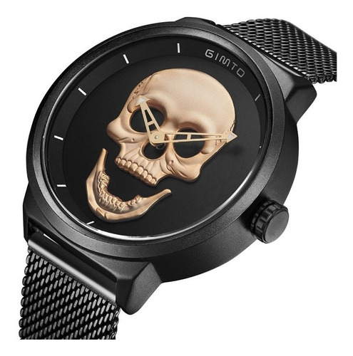 Relógio Skull Caveira Gimto Analógico A Prova Agua Pagani