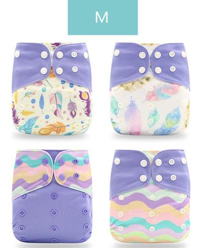 Imagen 1 de 2 de 4 Pañales De Tela Lavables Para Bebé Con Estampado De Dibujo
