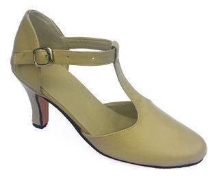 Zapatos De Tango, Salsa, Bachata Cuero Crema