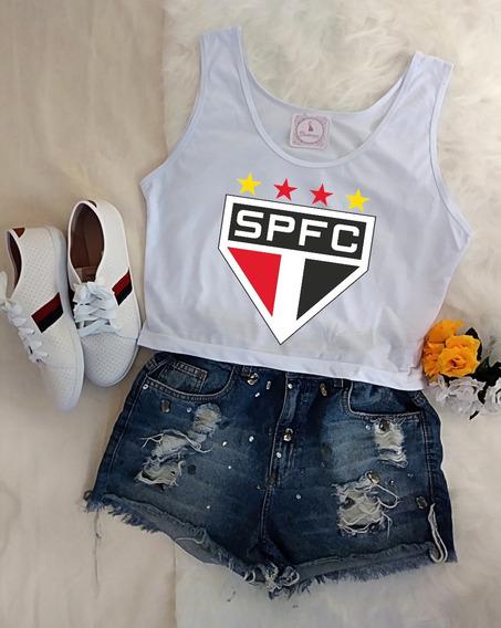 Blusa Cropped Feminina São Paulo Fc Futebol P,m,g,gg Barato!