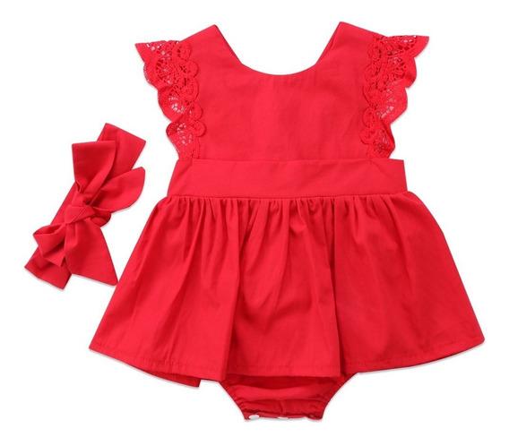 Vestidos Romper Falda Rojo Con Su Bandita Para Bebe Niña