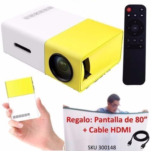 Mini Videobeam Proyector Yg300 Led Usb + Telon Y Cable W01