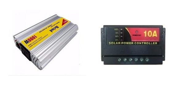 Kit Inversor 1000w 12v 110v E Controlador De Carga 10a