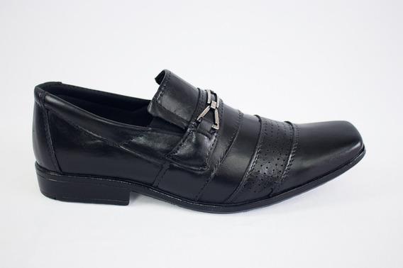 Sapato Social Masculino Mônaco Preto Couro Casual 850