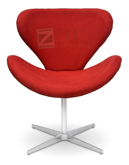 Poltrona Decorativa Swan Suede Vermelha Base Giratória Zarco