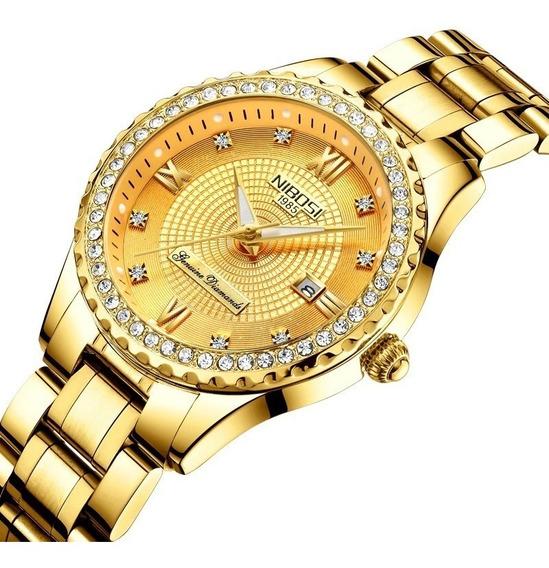 Relógio Nibosi Feminino Luxo Original Prova D