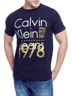Camiseta Calvin Klein Jeans Masculina 100% Original Marinho