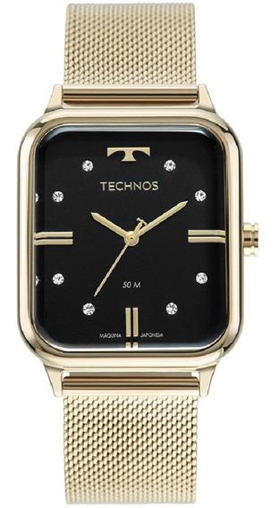 Relógio Technos Feminino Fashion 2039cq/1p Dourado Quadrado