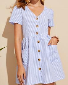 Vestido Curto Com Botões E Bolsos Frontais Blusa Feminina