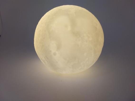 Luminária Lua Cheia 10cm 3d Led Abajur Promoção