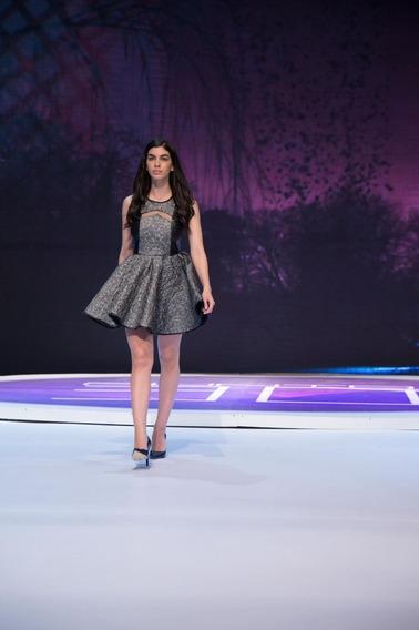 Vestido Corrugado,color Plata, Marca Patricia Gomez