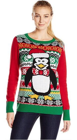 Sueter Navidad Feo Xmas Ugly Pinguino Mujer Con Luz Led