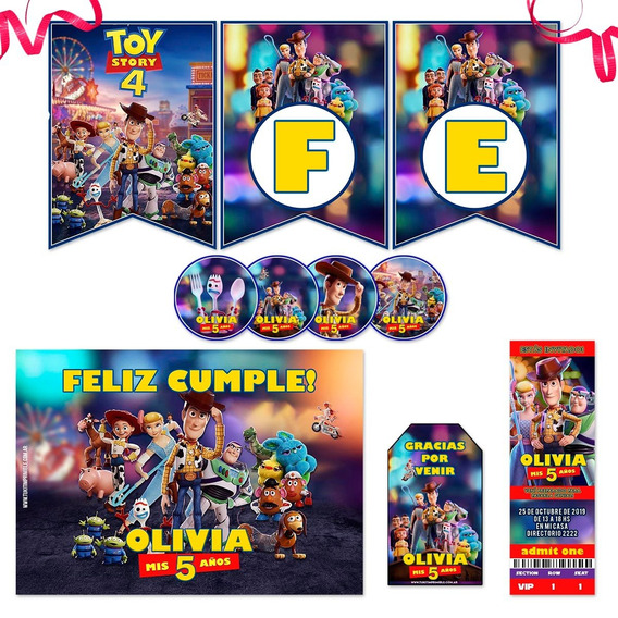 Kit Imprimible Toy Story 4 Candy Bar Photo Props Completo!