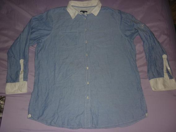 E Camisa De Dama Gap Boybriend Fit Azul Acero Art 60794