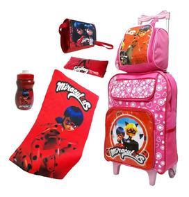 Mochila Escolar Feminina Ladybug Com Rodinhas Infantil Linda
