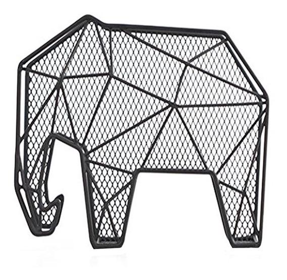 Organizador Papeles Elefante Poligono Acero Negro Kikkerland