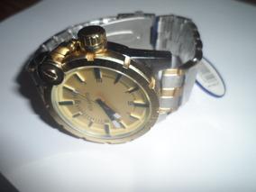 Relógio Atlantis Dourado Gold Estilo Disel Coroa Rosqueada