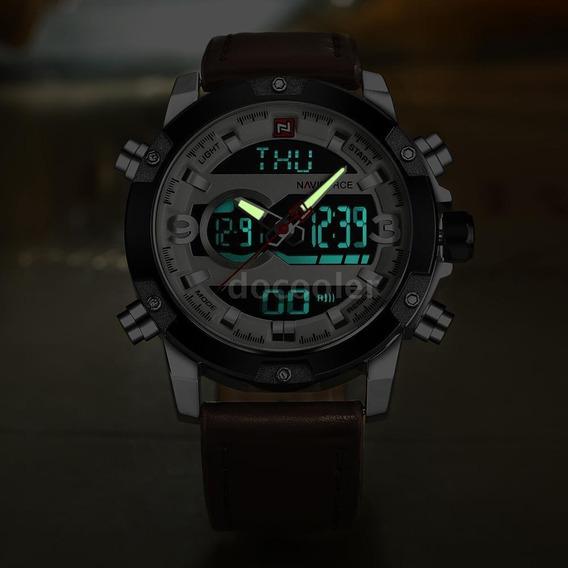 Lindo Relógio Naviforce Original Em Couro Frete Gratis
