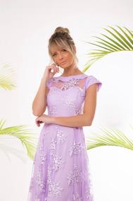 Vestido Feminino Madrinha Formatura Em Tule Bordado Inglês