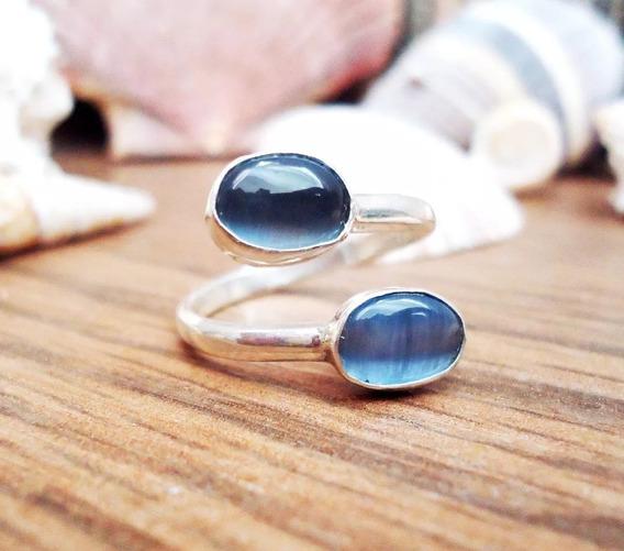 Anillo Piedra Ojo De Gato Azul Fina Ley 925