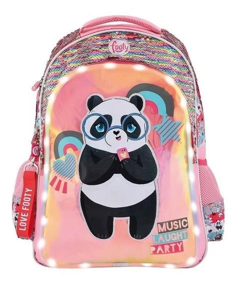 Mochila Footy C/luz Panda Lent Rev Footy 1293 Envio Gratis
