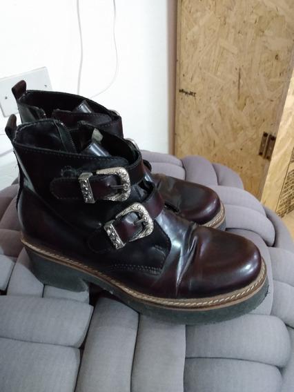 Borcegos Zapatos Plataforma Con Hebilla Clona