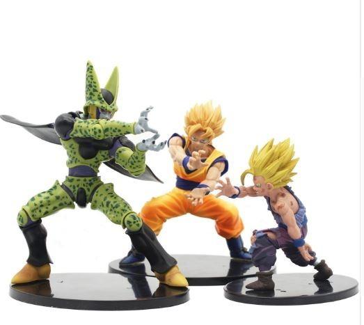Boneco Goku,gohan E Cell Kit 3 Figuras De Ação Dragon Ball Z