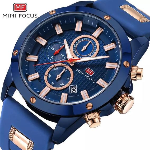 Relógio Masculino Minifocus Azul Frete Grátis