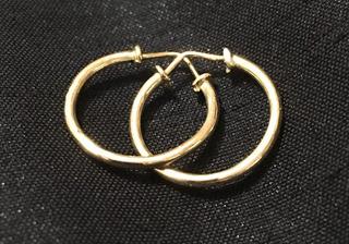 Argollas Lisas Macizas De Oro 10k Para Niñas (4 Años)15mm 25
