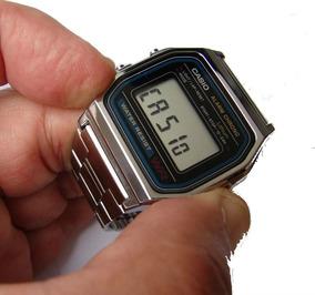 Relogio Casio A158wa-1 Prat Unissex Retrô Vintage Alarm Caix