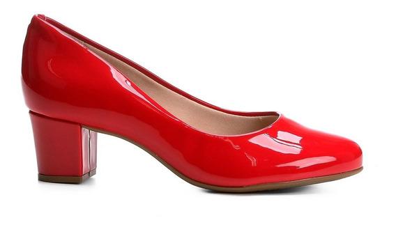 Sapato Scarpin Beira Rio Salto Grosso Verniz Vermelho