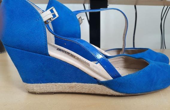Sandália De Salto Baixo Anabela Azul